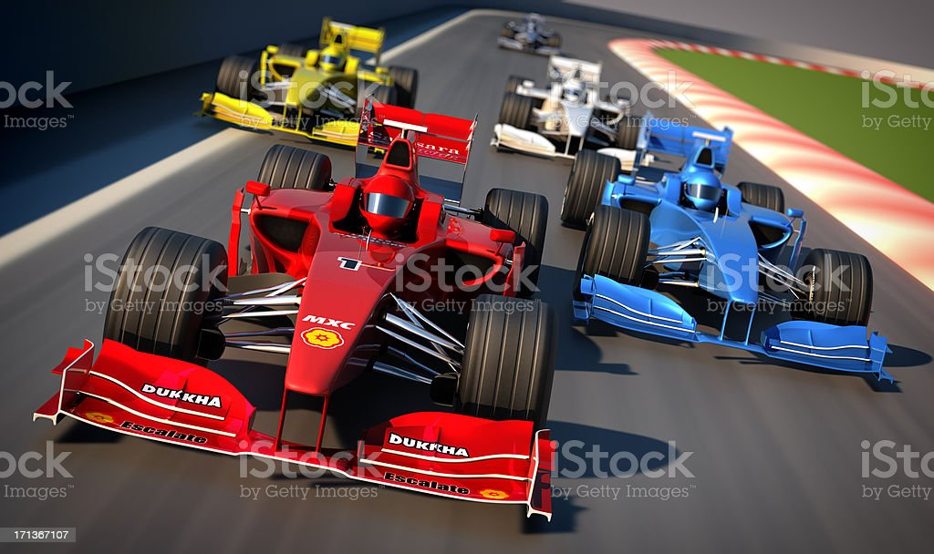 Formula One cars racing royalty-free stock photo