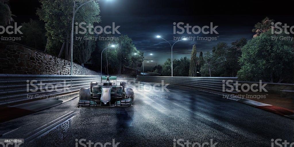 Formula One Racing Car on the track bildbanksfoto