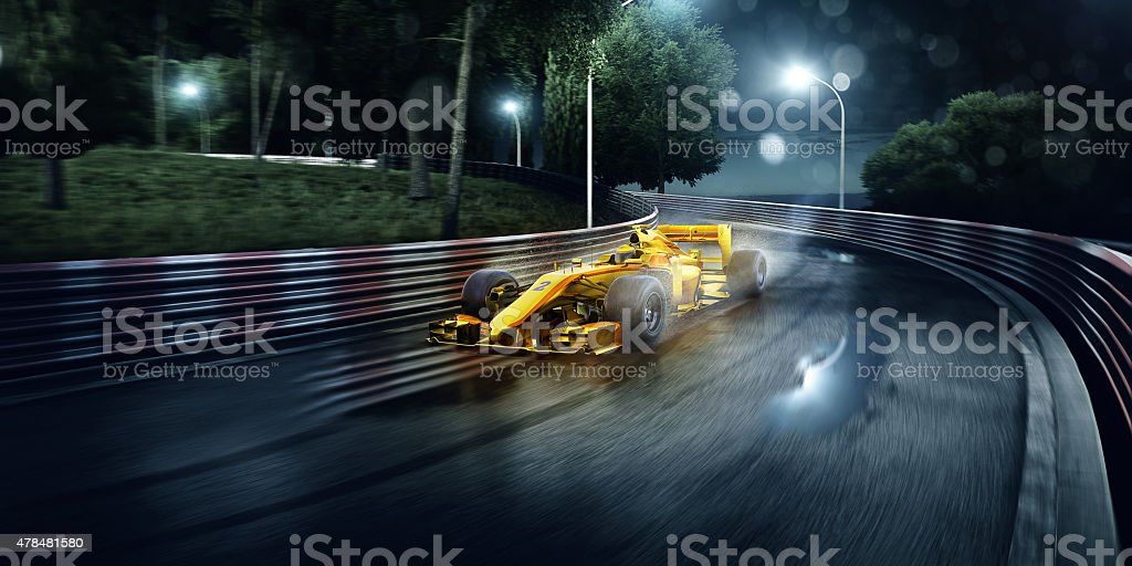 Formula One Racing Cars on the track stock photo