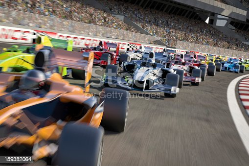Formula one type racing cars speeding down around a bend in the track in front of a stadium filled with people. All elements are designed and modelled by myself. All markings and designs are entirely fictitious. Very high resolution 3D render.