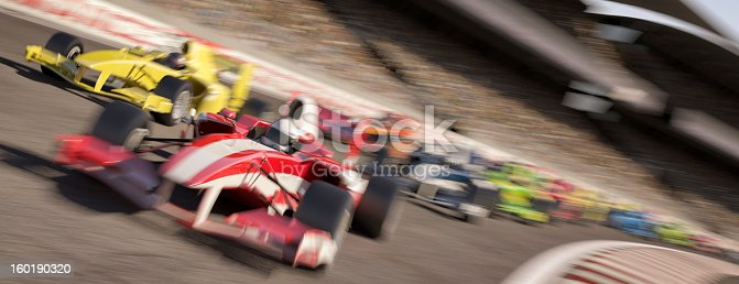 Formula one racing cars speeding down around a bend in the track in front of a stadium filled with people. All elements are designed and modelled by myself. All markings and designs are entirely fictitious. Very high resolution 3D render.