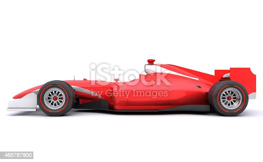 istock Formula race red car. Side view 465787800