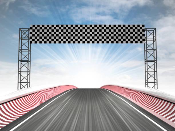 fórmula racing meta vista con cielo - vuelta completa fotografías e imágenes de stock