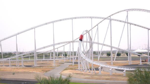 Formula Rossa, the fastest roller coaster in the world in Ferrari World amusement park at Yas Island stock photo