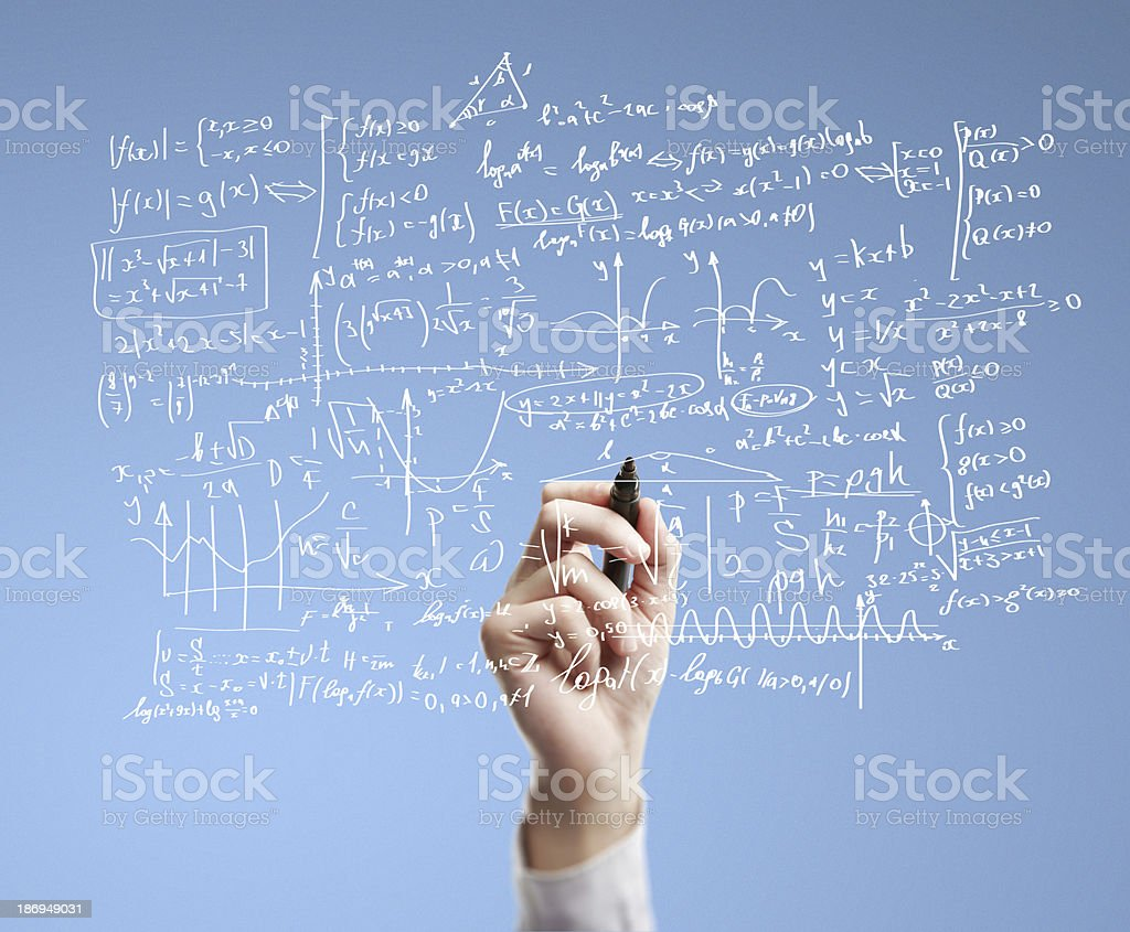 Formulas and equations drawn on glass surface royalty-free stock photo