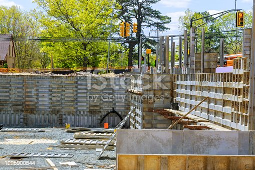 Formwork for concrete foundation building construction of an apartment house