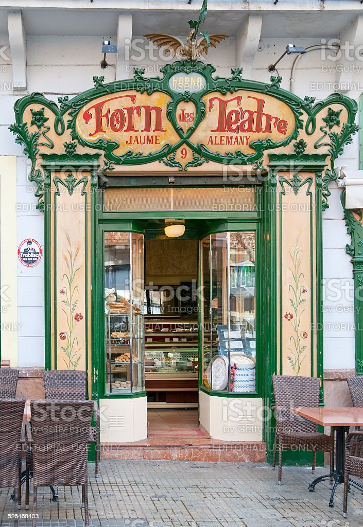 Forn des Teatre cafe front stock photo