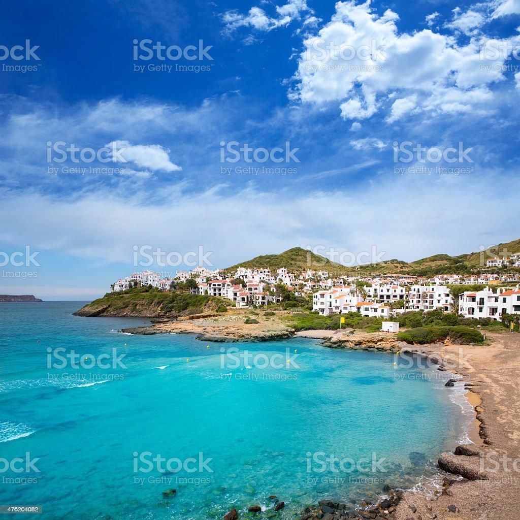 Fornells in Menorca Cala Tirant beach at Balearic Islands stock photo