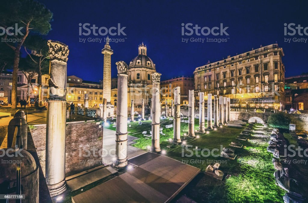foro di cesare forum cesar traiano augusto augustus  nerva stock photo