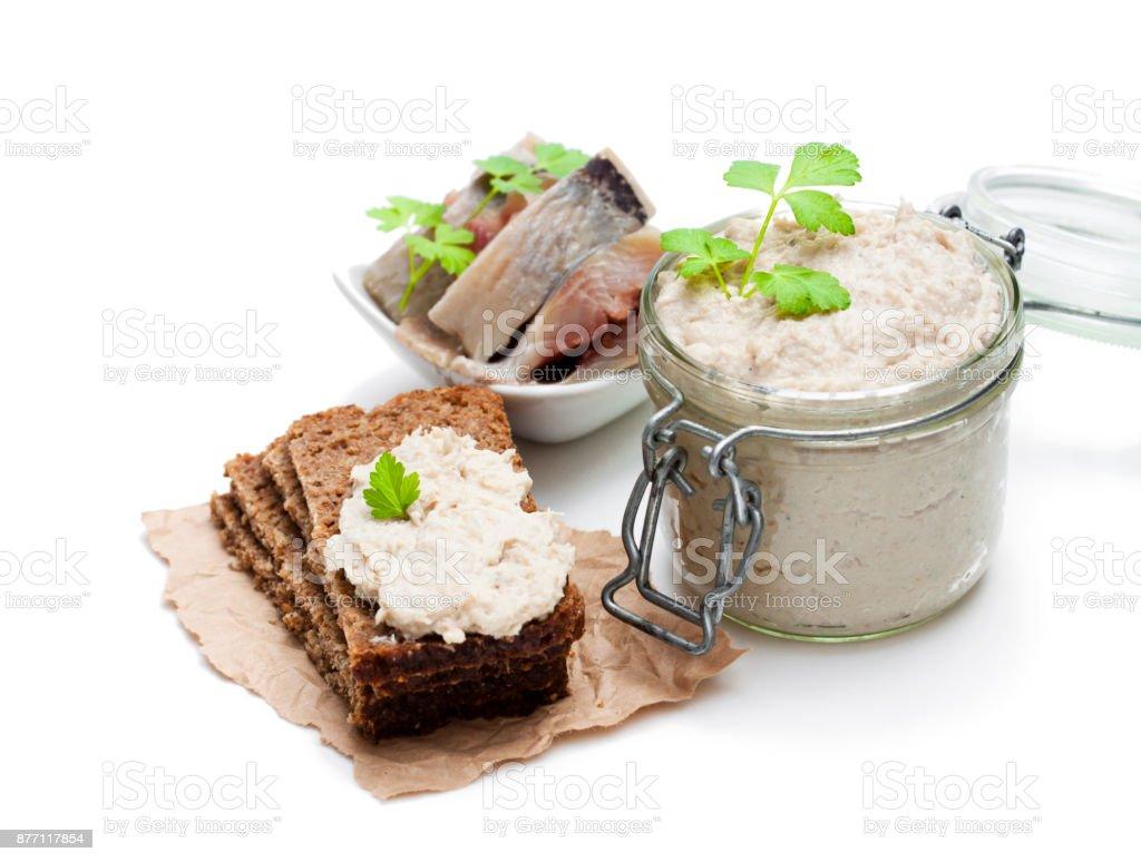 Forshmak  paste from herring isolated on white stock photo