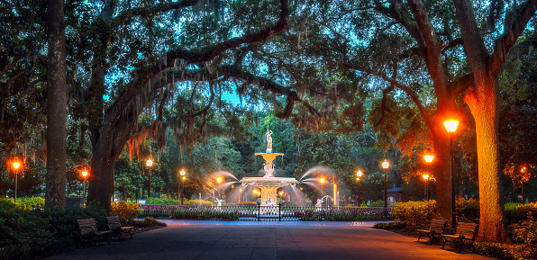 Forsynth Park In Savannah Georgia At Sunset Stock Photo - Download Image Now