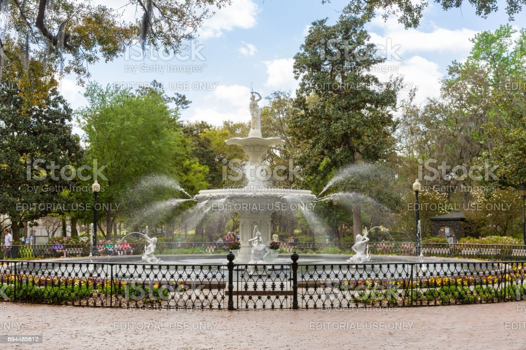 Forsyth Park and Fountain in Historic Savannah stock photo