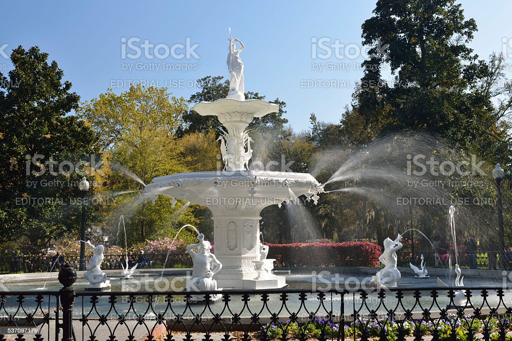 Forsyth Park Fountain in Savannah stock photo