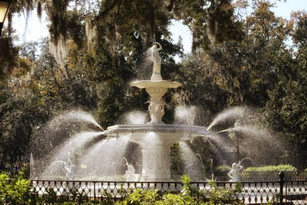 Forsyth Park Historic Iconic Water Fountain, Shadows, Savannah, Georgia stock photo