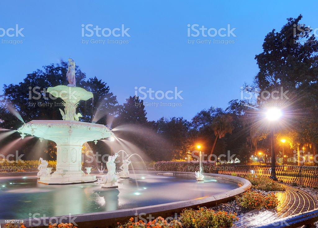 Forsyth Park in the Early Morning stock photo