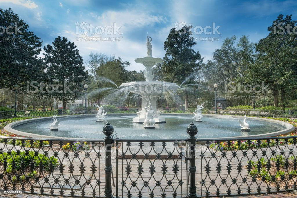 Forsyth Park is a large city park that occupies 30 acres (0.12 km2) in the historic district of Savannah, GA, USA stock photo