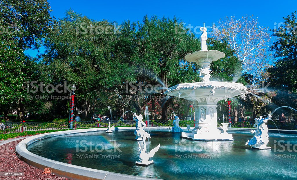 Forsyth Park Water Fountain, Savannah, Georgia stock photo