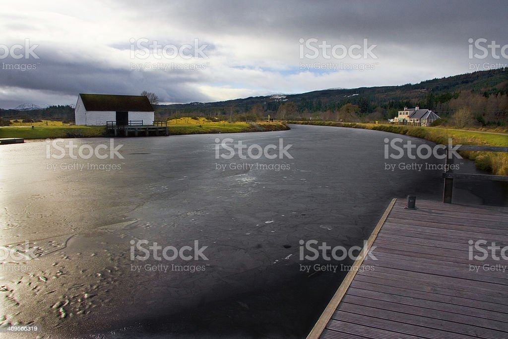 Fort Augustus Iced water stock photo