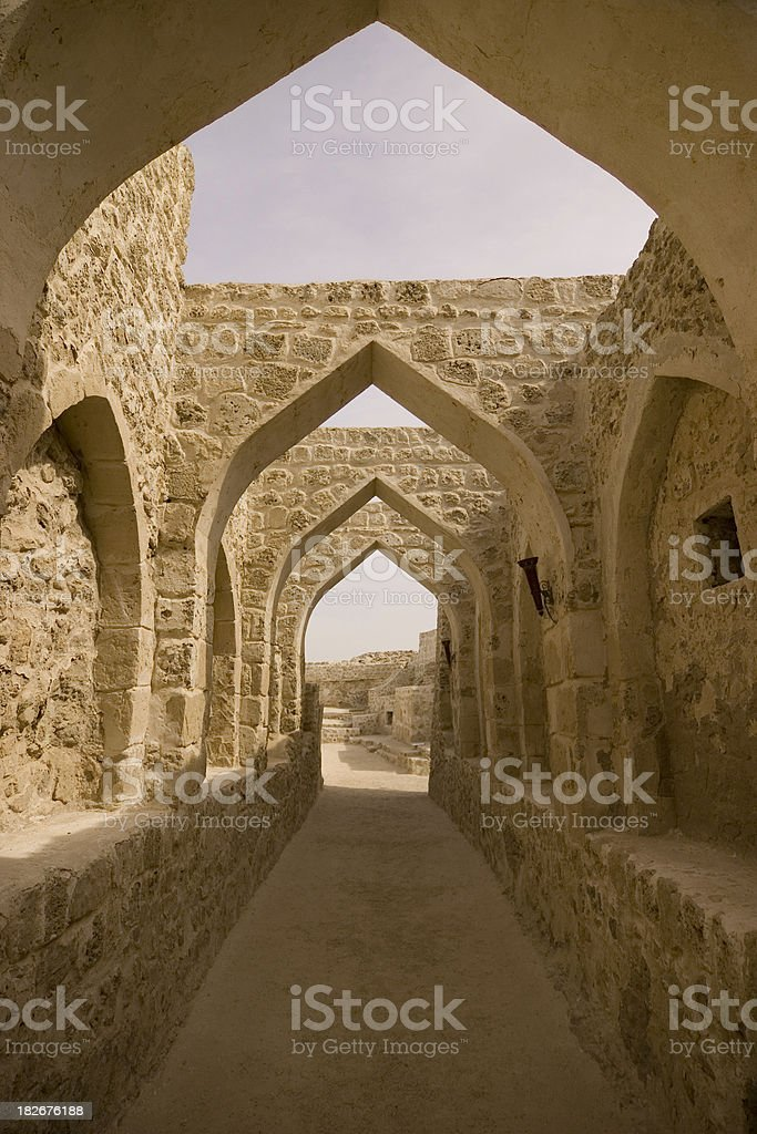 Fort Bahrain archway stock photo