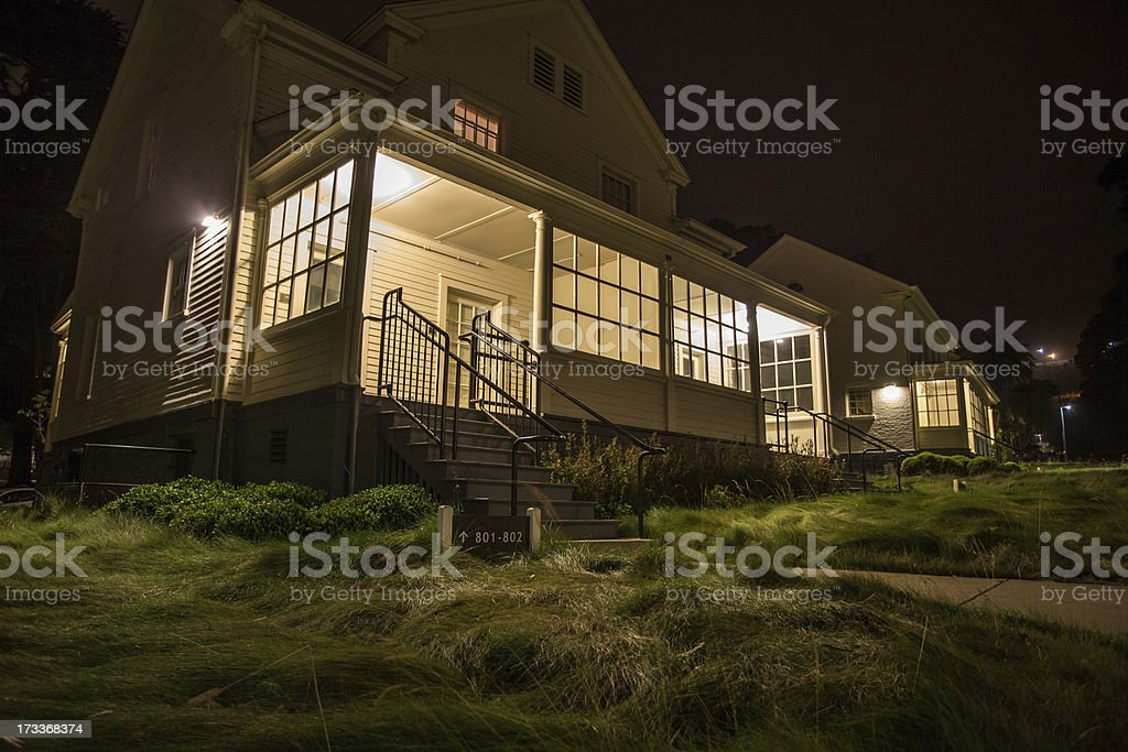 Fort Baker Porches at Night royalty-free stock photo