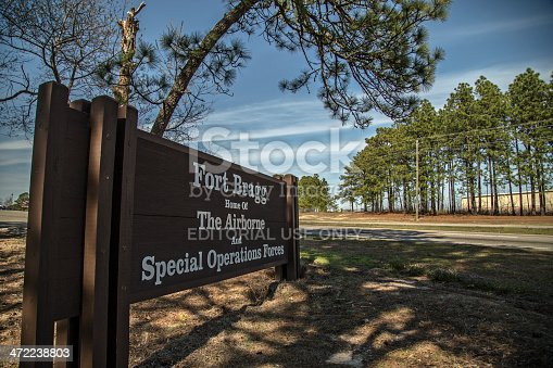 Fort Bragg, USA - February 4, 2014: The sign at the entrance of Fort Bragg, NC.