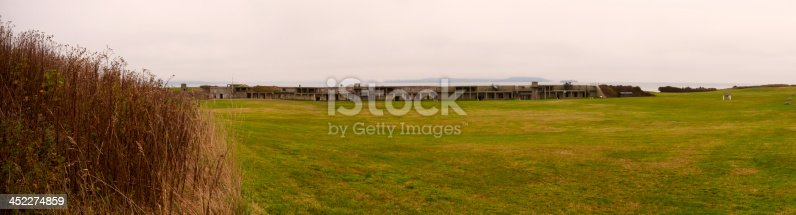 A multi-image stitched panorama of the gun placements of Fort Casey State Park located on Whidbey Island in Washington state.