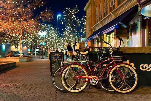 Fort Collins At Night Stock Photo - Download Image Now