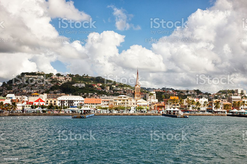 Fort De France Waterfront from Harbor, Martinique, Caribbean stock photo