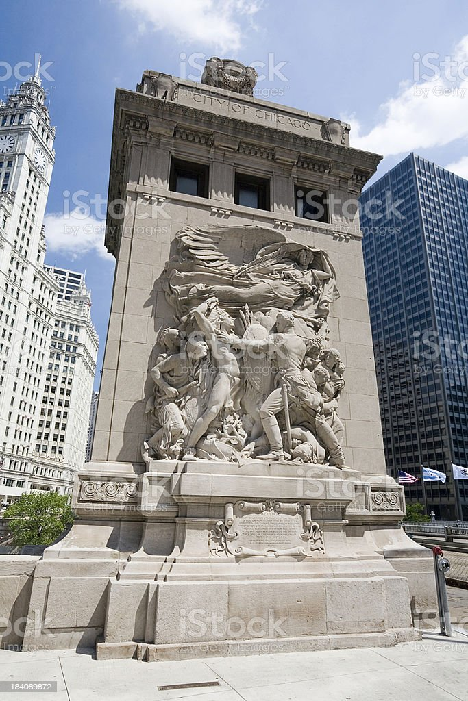 Fort Dearborn Monument, Chicago royalty-free stock photo