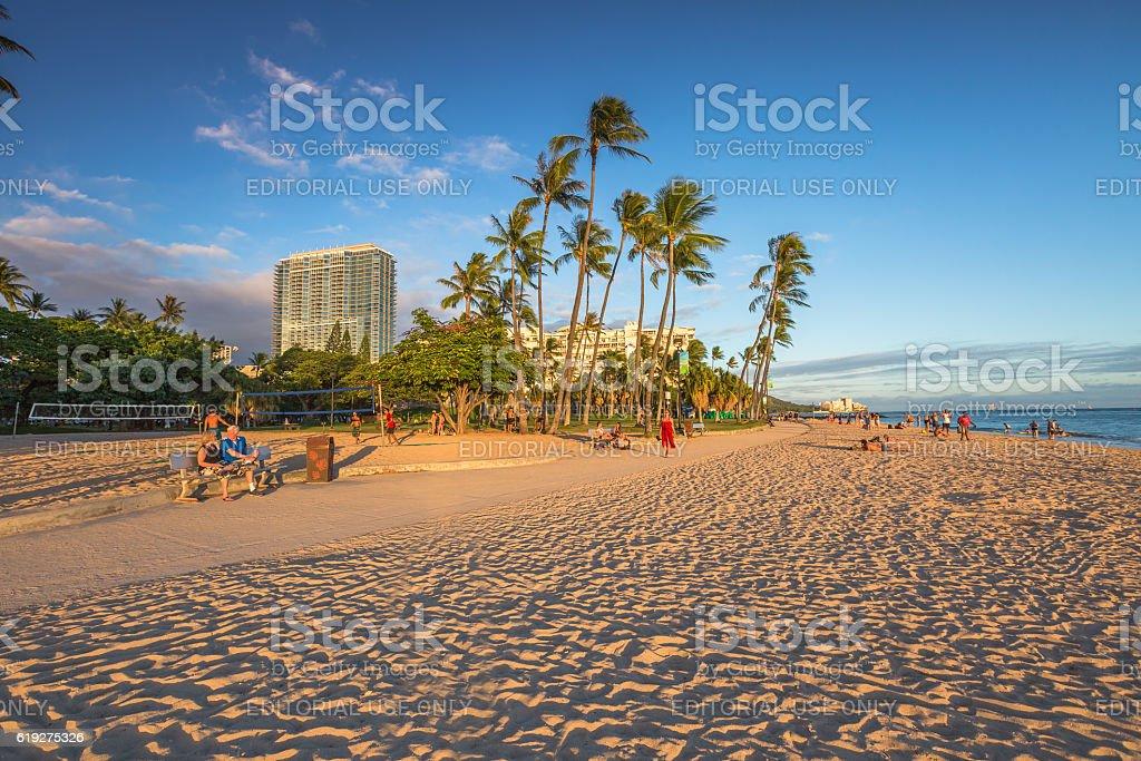 Fort DeRussy Beach Waikiki stock photo