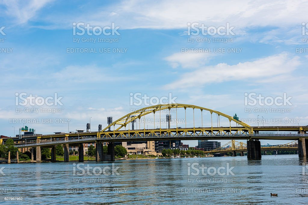Fort Duquesne bridge over the Allegheny River stock photo