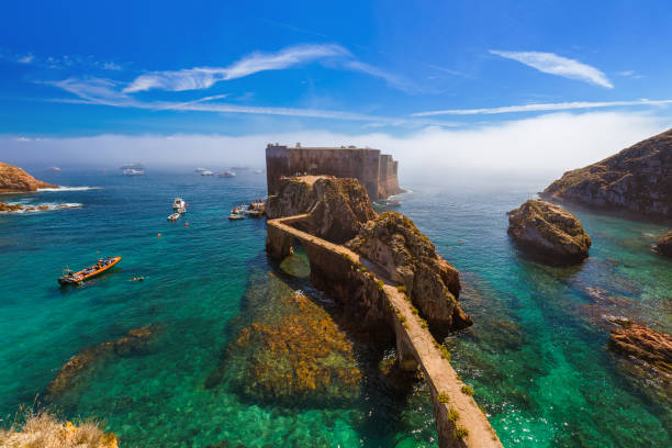 fort in berlenga island - portugal - portugal stock photos and pictures
