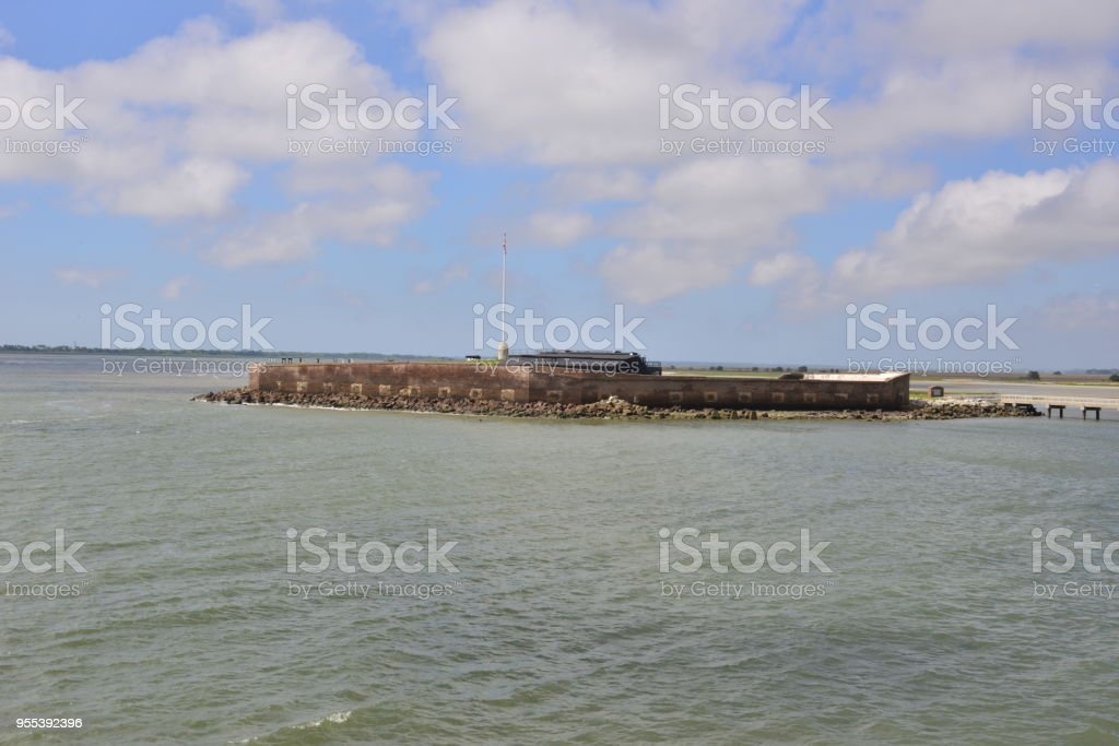 Fort in the Charleston Channel where the American civil war started. stock photo
