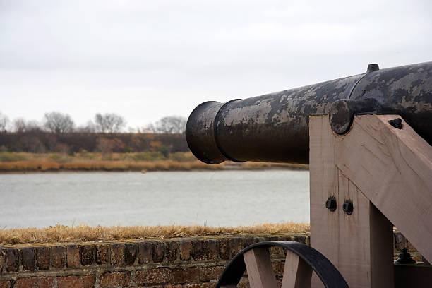 Fort Jackson Artillery Artillery Overlooking the Savannah River, Fort Jackson, Savannah, Georgia, river, water, creeks, south, travel, destinations, tourism, north, south, confederacy civil war memorial minnesota stock pictures, royalty-free photos & images