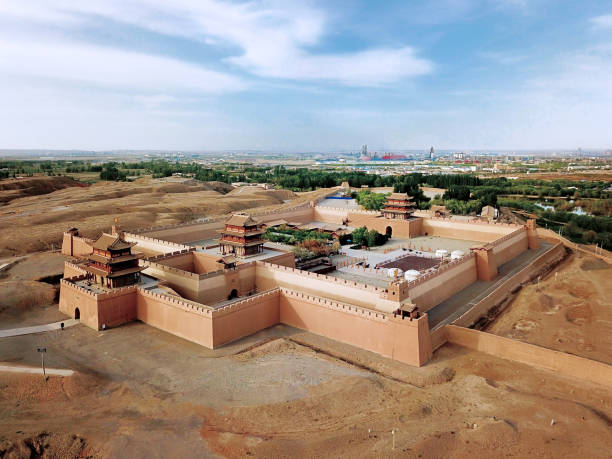 Fort Jiayuguan, and the city in Gansu Province, China stock photo