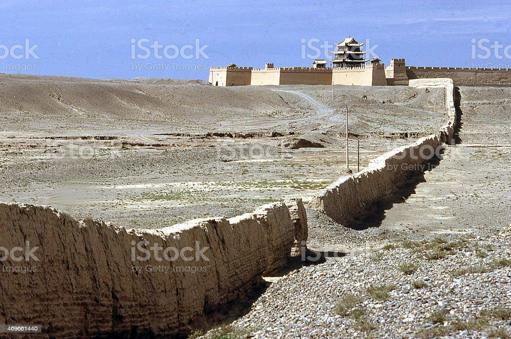 Fort Jiayuguan Gobi Desert Silk Road Great Wall China stock photo