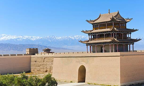 fort jiayuguan of the great wall,china - chinese military bildbanksfoton och bilder