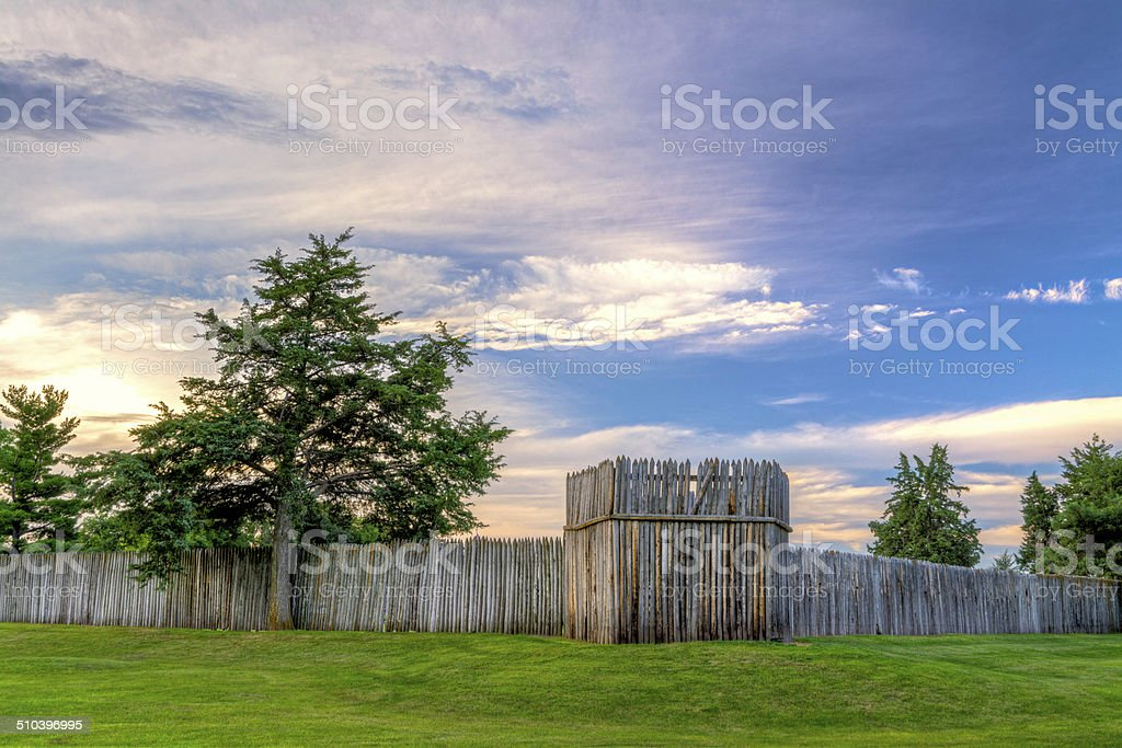 Fort Kearny log fence at sunrise stock photo