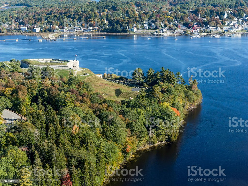 Fort Knox Historic Site From Penobscot Narrows Bridge Observatory Maine stock photo
