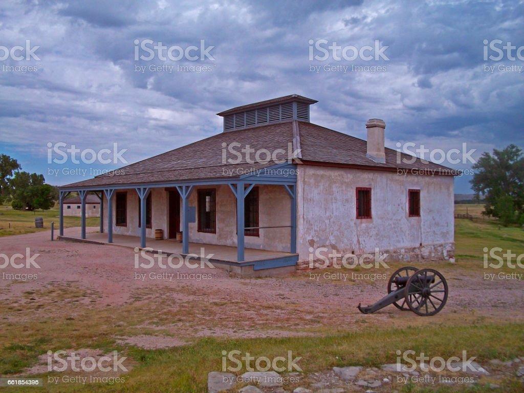 Fort Laramie National Historic Site, historic military housing in Wyoming stock photo