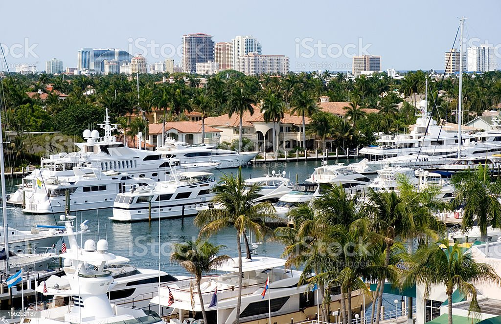 Fort Lauderdale and boats stock photo