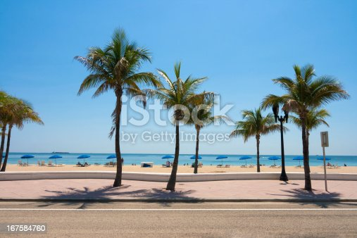 Fort Lauderdale beach, pedestrian walkway and the Atlantic ocean in vibrant colours