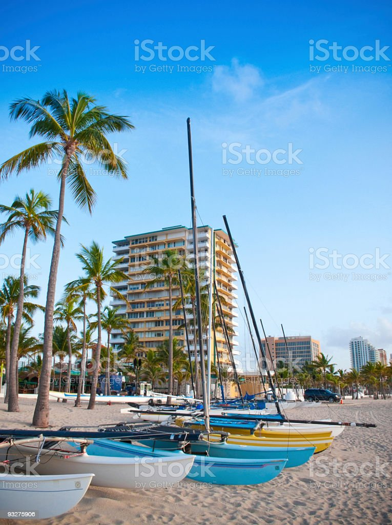 Fort Lauderdale Beach and Sailboats royalty-free stock photo