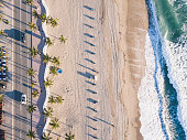 Fort Lauderdale Beach at sunrise from drone point of view