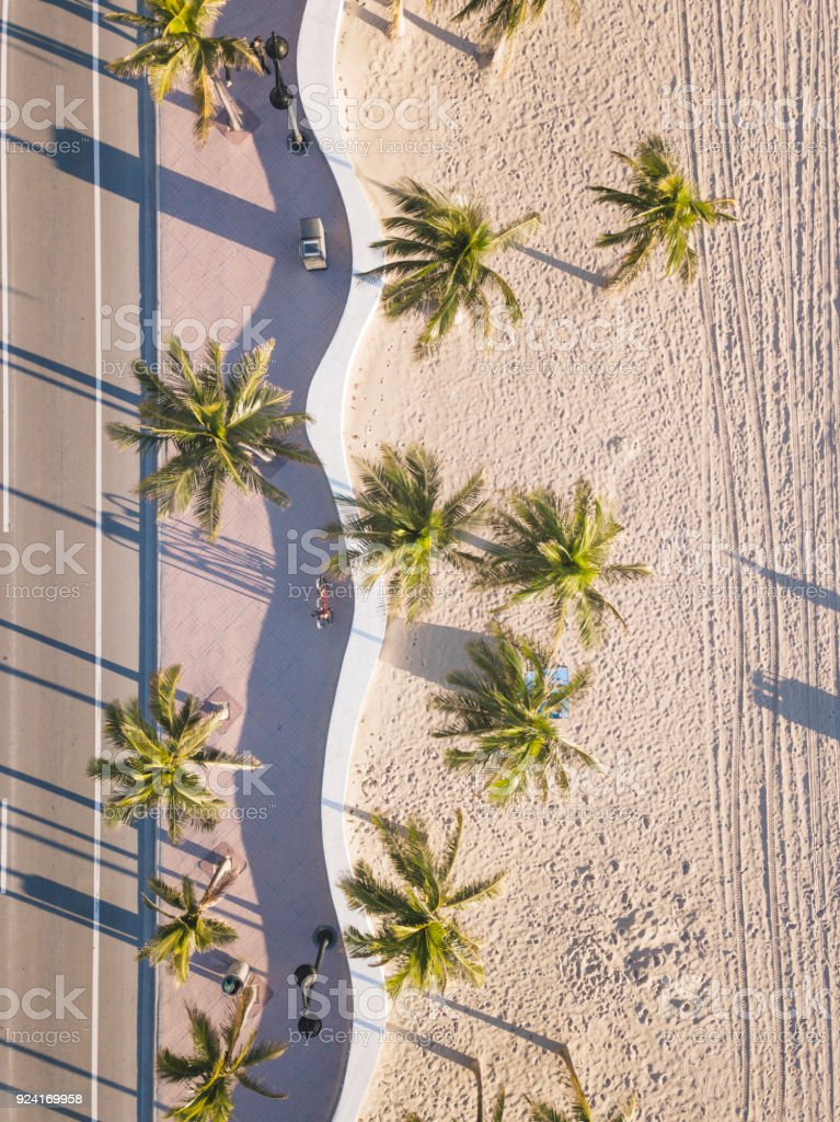 Fort Lauderdale Beach at sunrise from drone point of view stock photo