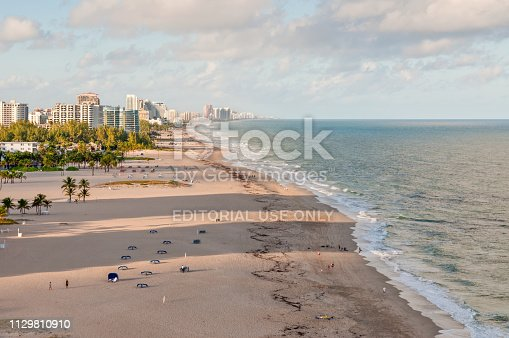 Fort Lauderdale, USA - November 28, 2011: View of Fort Lauderdale Beach - Florida, USA. Shoot from a cruise ship.