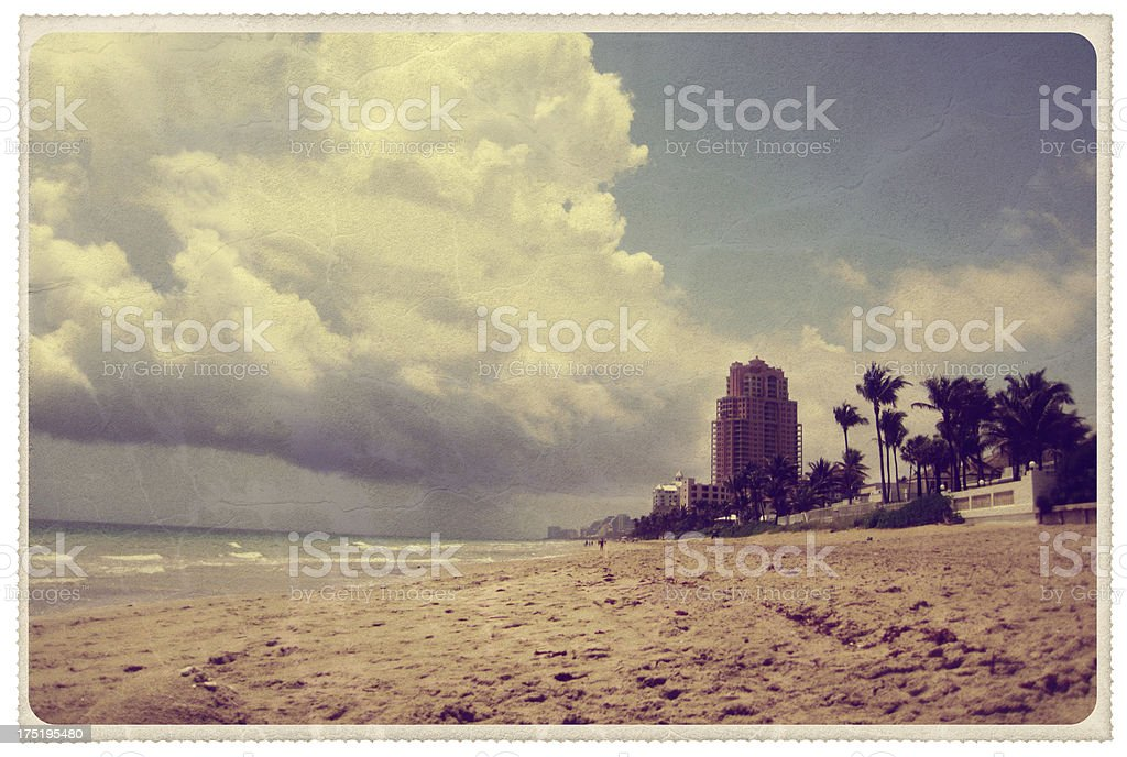 Fort Lauderdale Beach - Vintage Postcard royalty-free stock photo