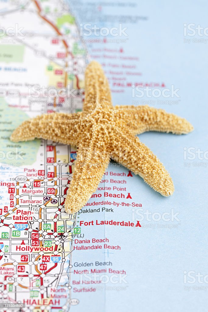 Road Map Florida.Fort Lauderdale Florida Road Map With Starfish Stock Photo Istock