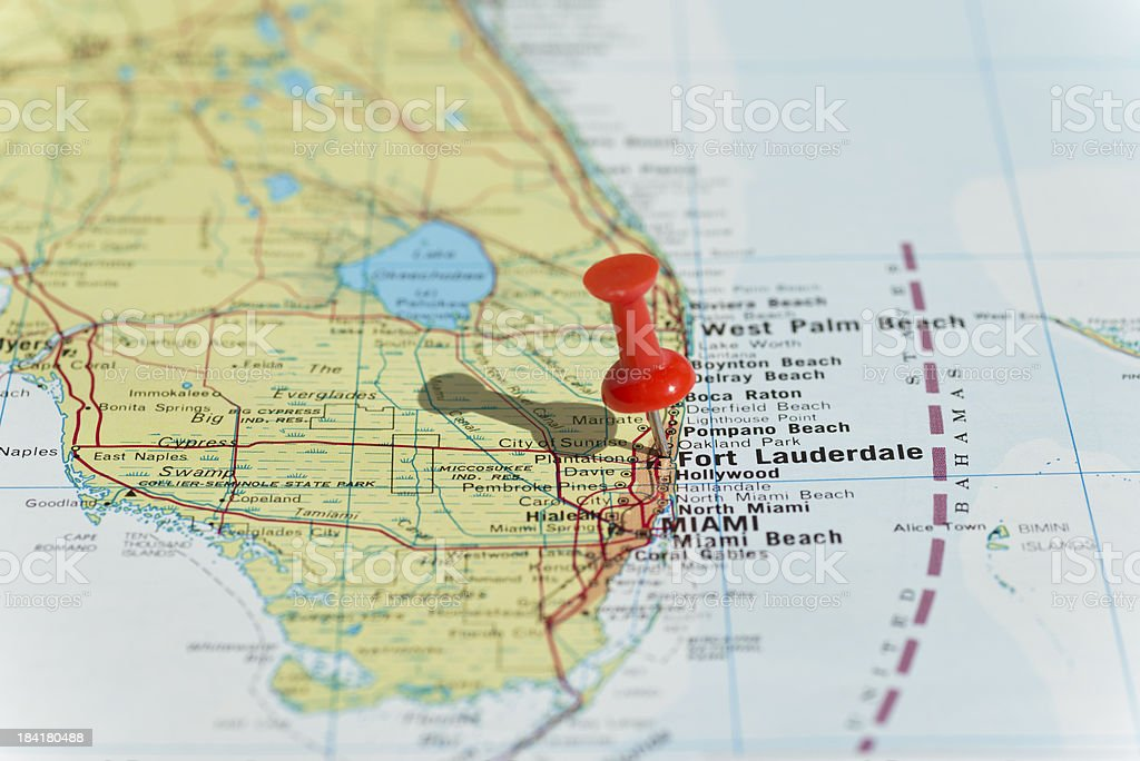 Fort Lauderdale Marked on Map with Red Pushpin stock photo