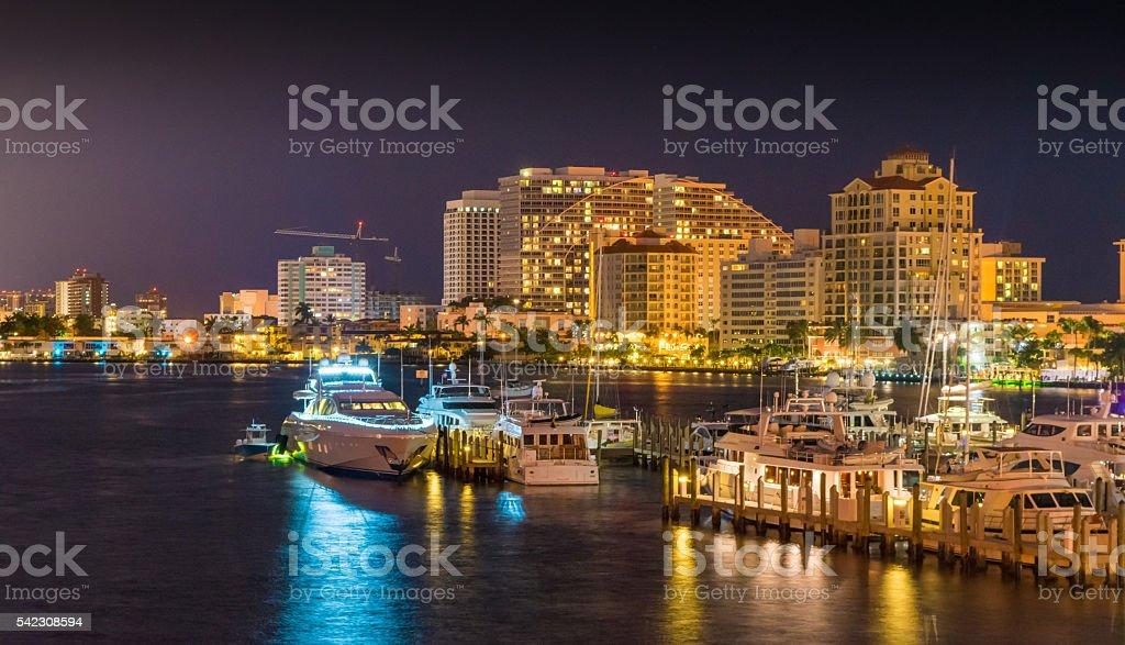 Fort Lauderdale Skyline at Night stock photo